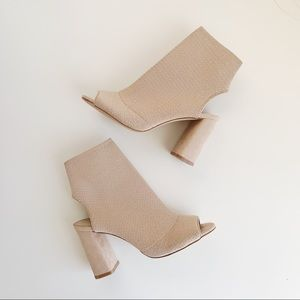 Aldo Nude Sock Heels w/ Peep Toe and Open Heel